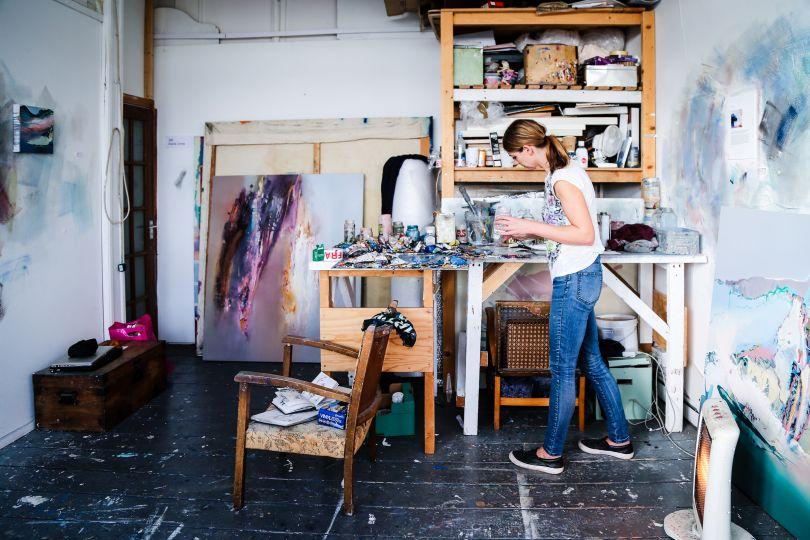 Elaine Jones in her studio