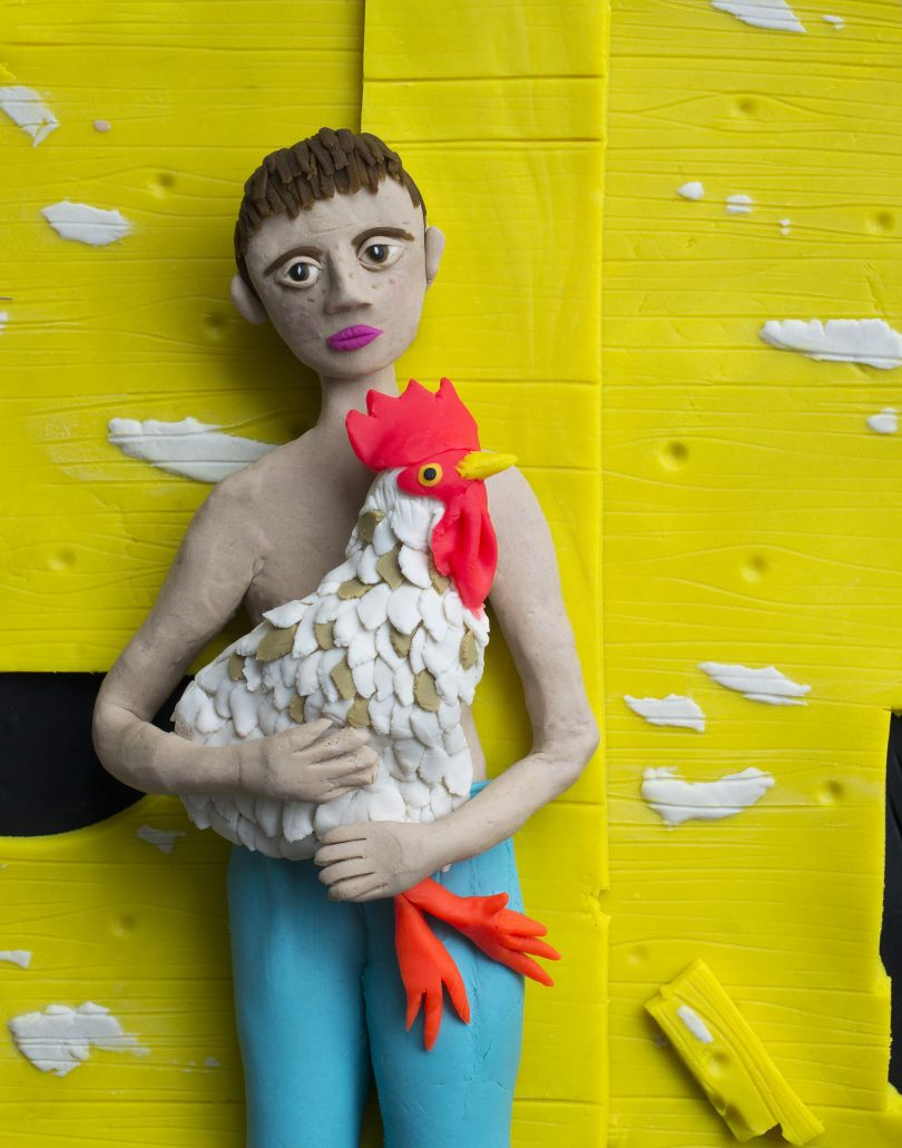 Original photograph: Eric with Rooster, 2001 by Shelby Lee Adams rendered in Play-Doh © Eleanor Macnair