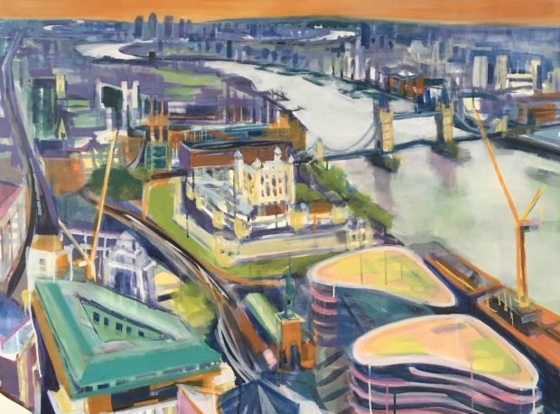 Wendy Brooke-Smith, Sky Garden View East, 2017, acrylic on canvas, 91 x 122cm