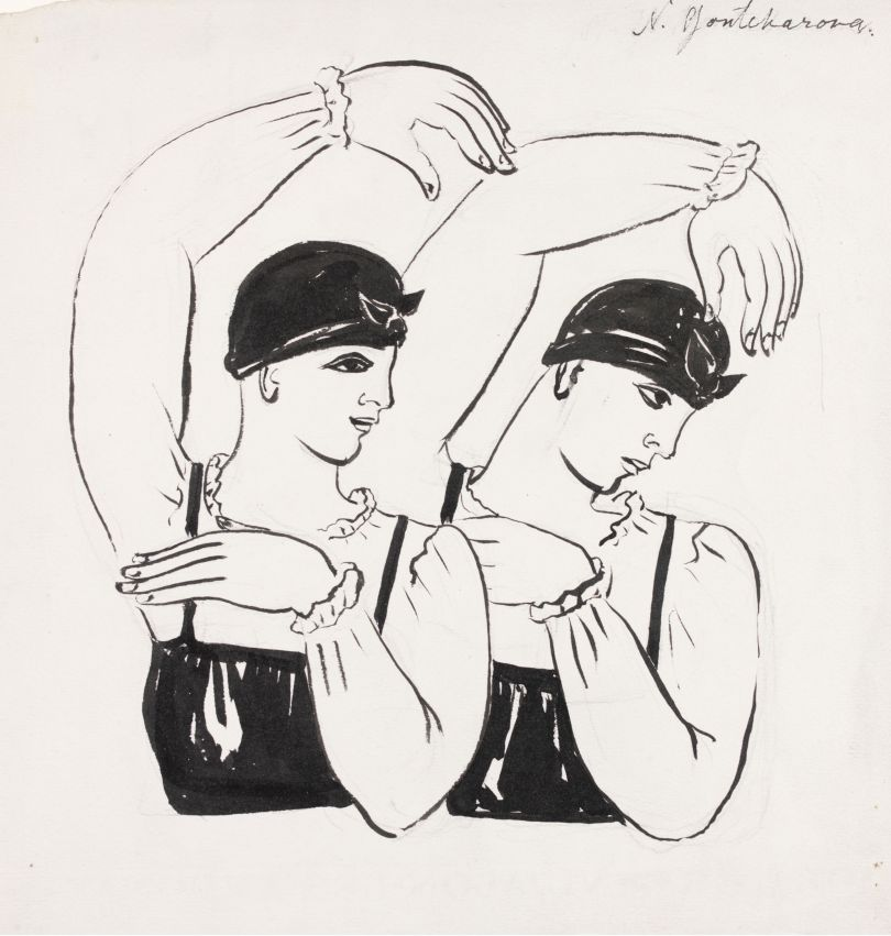 Natalia Goncharova (1881- 1962) Two female dancers (half-length). Choreography design for Les Noces c.1923 Ink and paint on paper 250 x 250 mm Victoria and Albert Museum, London © ADAGP, Paris and DACS, London 2019