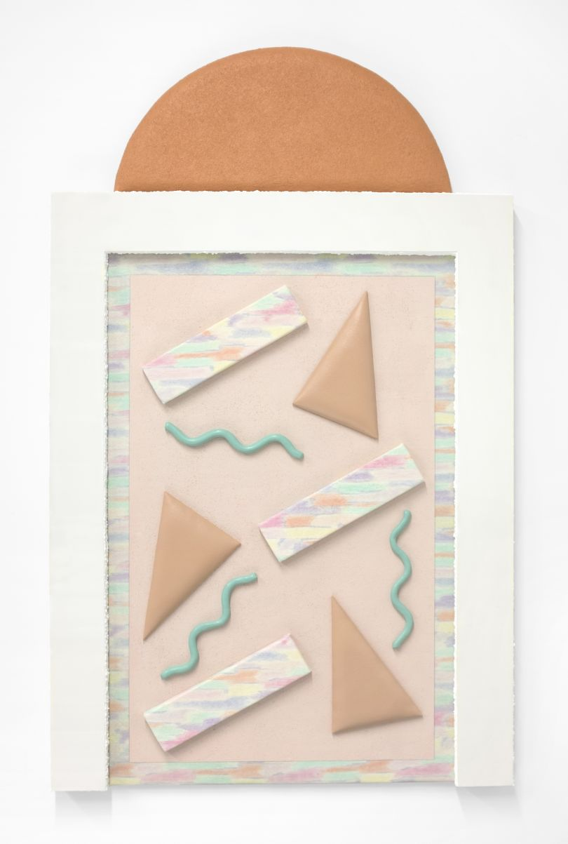 Leah Guadagnoli Number Six Song in Heaven, 2017 acrylic, pumice stone, Plexiglas, PVC, found upholstery, Apoxie Sculpt, canvas, insulation board, and polyurethane foam on aluminum panel 49h x 30w x 3d in Courtesy of the artist and VICTORI + MO