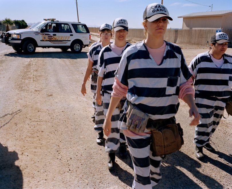 Female inmates march to work near Phoenix, Arizona