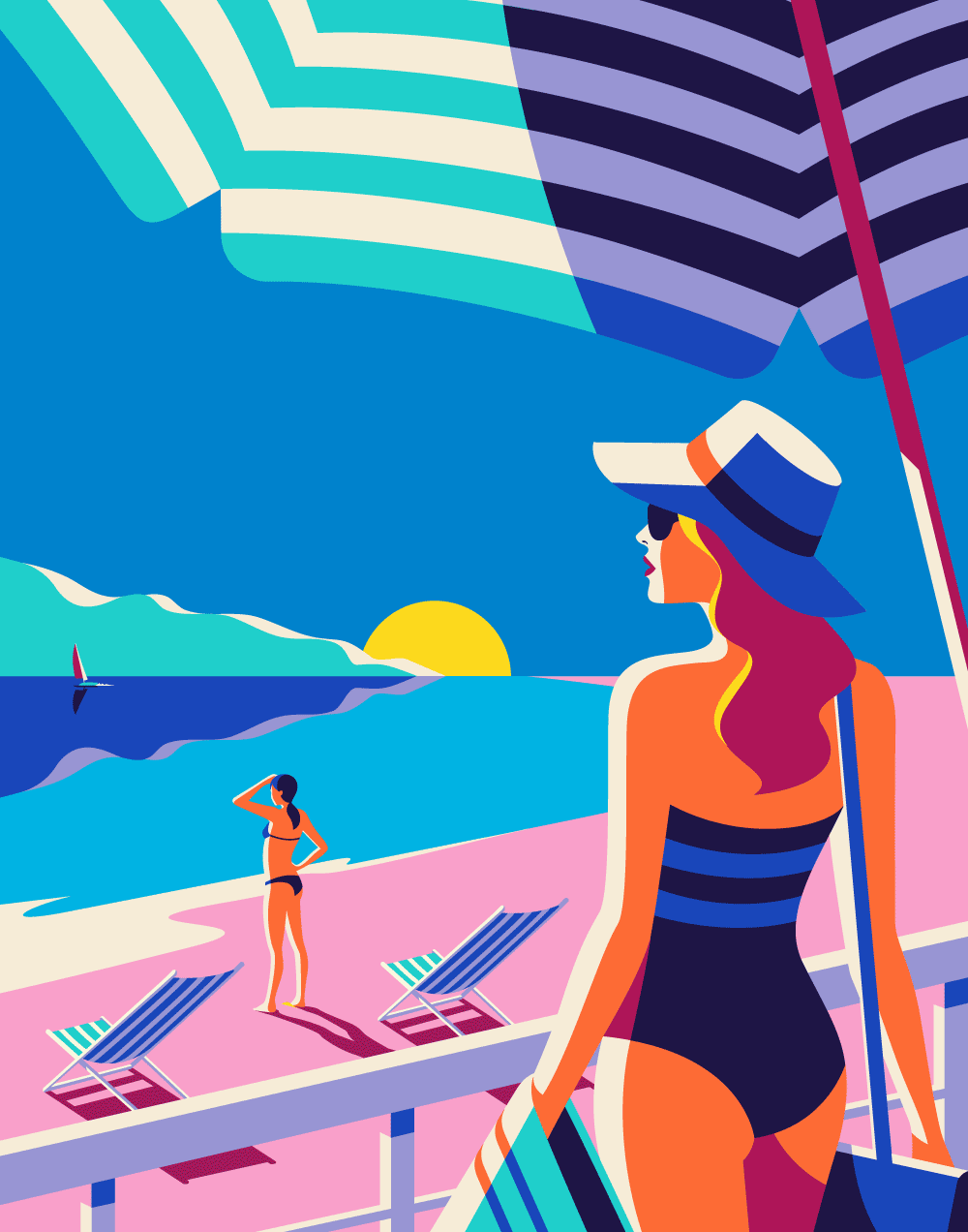 Bold And Beautiful Vintage Inspired Travel Illustrations For Kuoni France By Malika Favre