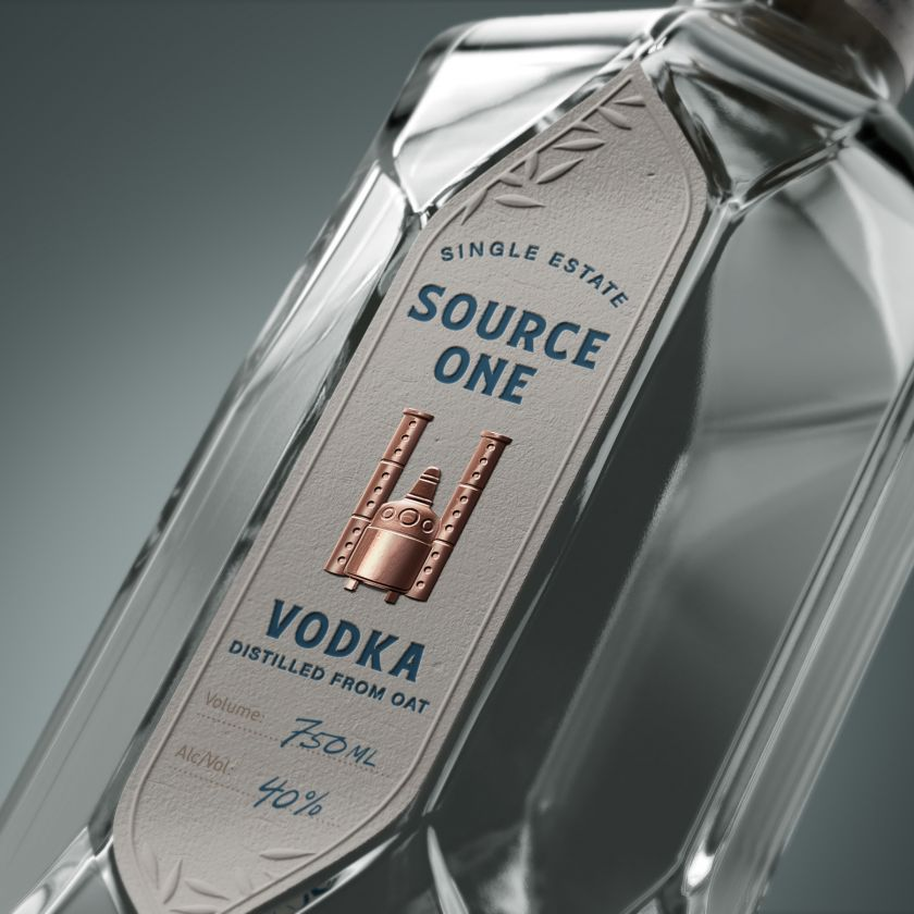 Source One Vodka by AETHER NY, LLC, A' Design Award winner in Packaging Design, 2019 - 2020