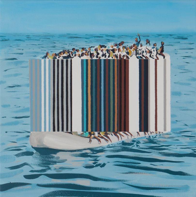 Darren Coffield, Ebb and Flow, 2019. Acrylic on canvas, 44.5 x 43.5 cm © Darren Coffield. Courtesy of Dellasposa Gallery