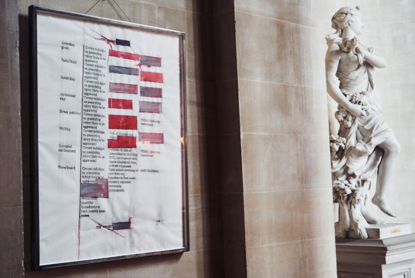 Attention grasp , 2017. U.S. government document SOFTER: Jenny Holzer at Blenheim Palace , Blenheim Palace, Woodstock, UK, 2017 © 2017 Jenny Holzer, member Artists Rights Society (ARS), NY Photo: Edd Horder