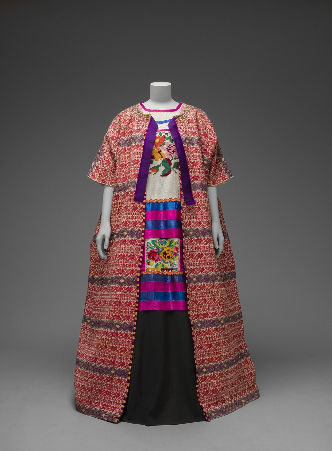 Guatemalan cotton coat worn with Mazatec huipil and plain floor-length skirt Museo Frida Kahlo © Diego Rivera and Frida Kahlo Archives, Banco de México, Fiduciary of the Trust of the Diego Riviera and Frida Kahlo Museums