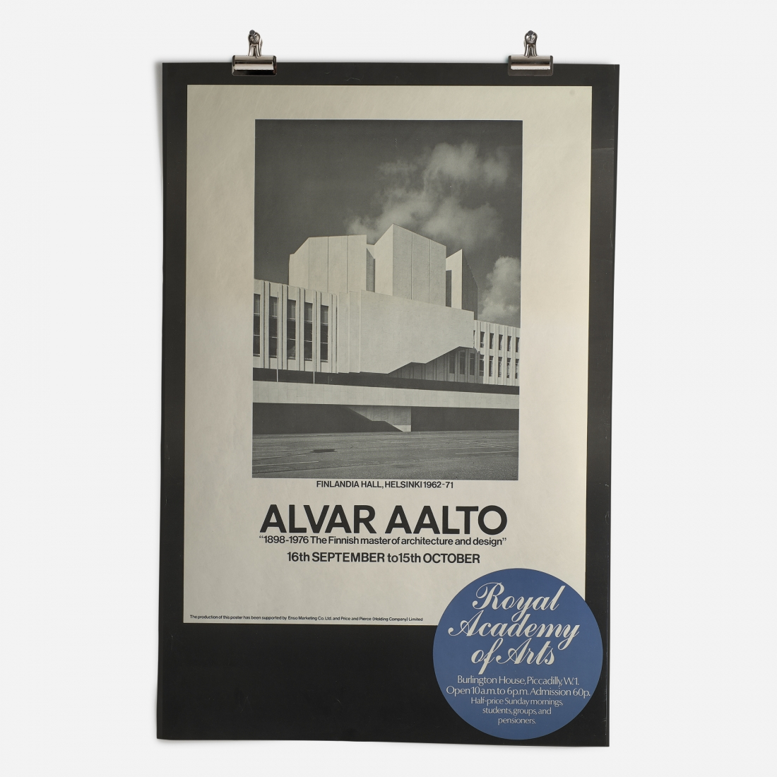 RA Alvar Aalto Exhibition 1978 Epic Poster ​from the Royal Academy of Arts Collection