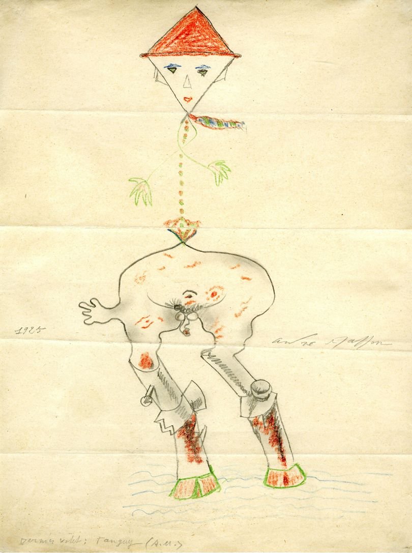 Yves Tanguy, André Masson and others, Cadavre Exquis, 1925, Pencil and coloured pencil on paper, 27.7 x 21 cm