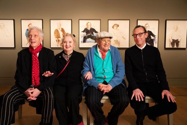 David Hockney with his close friends and his new drawings in David Hockney: Drawing from Life © David Parry and National Portrait Gallery