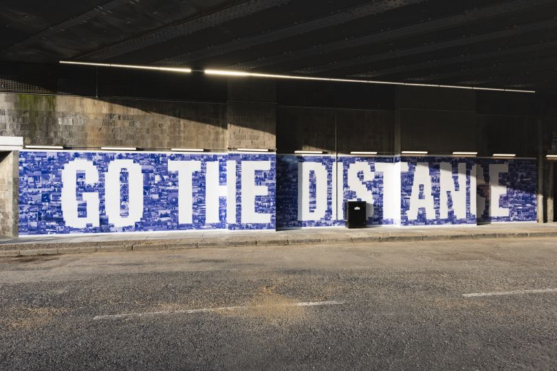 Go the Distance, 2019, Jessie Brennan (Part of the year-long series Making Space) Commissioned by the Royal Docks Team, a joint initiative by the Mayor of London and the Mayor of Newham. Produced and curated by UP Projects.  Photo by Thierry Bal
