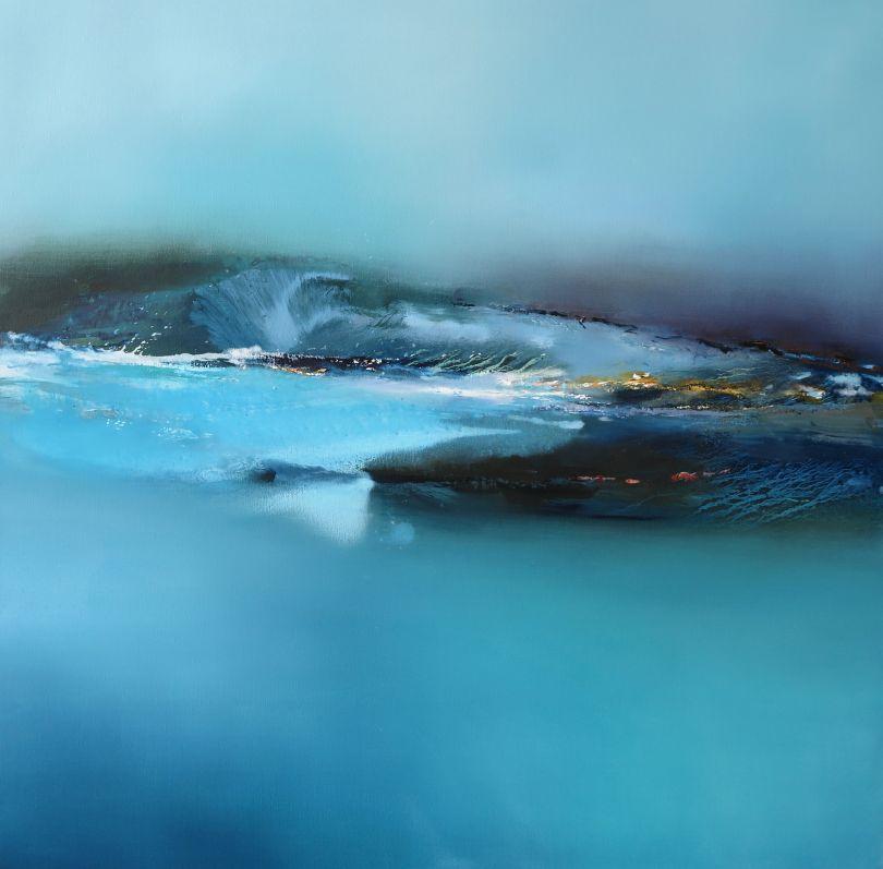 Sea Spray with Prussian, oil painting 2020 © Elaine Jones