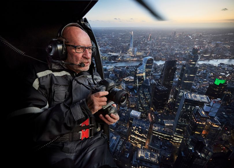 Paul Campbell in helicopter above London © Paul Campbell Photographer