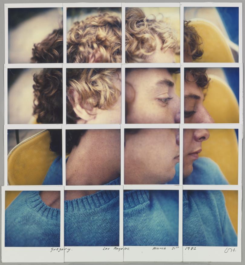 David Hockney Gregory. Los Angeles. March 31st 1982, composite polaroid 14 1/2 x 13 1/4
