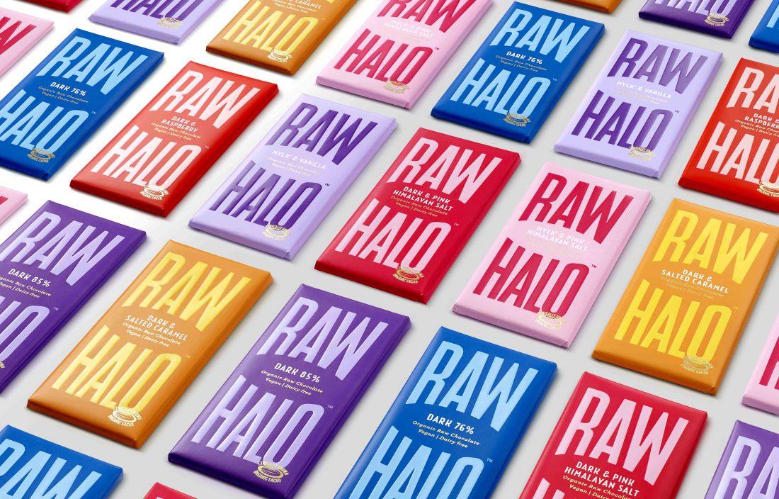 B&B studio designs an angelic identity for Raw Halo, a new vegan chocolate brand