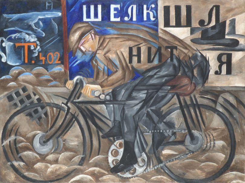 Natalia Goncharova (1881- 1962) Cyclist 1913 Oil paint on canvas 780 x 1050mm State Russian Museum © ADAGP, Paris and DACS, London 2019