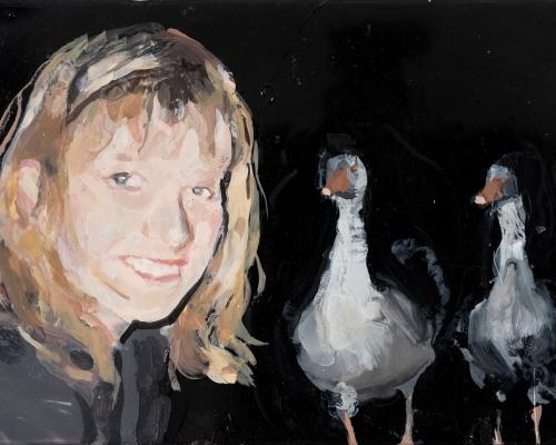 Self-portrait with Two Gossipy Birds, 2016 - © Geraldine Swayne