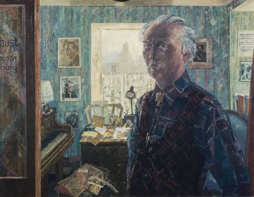 'Beyond Likeness' Victoria Crowe (b. 1945) Ronald Stevenson, 1928 - 2015. Composer and pianist, 1983 Oil on hardboard, 71.20 x 91.40 cm Collection: National Galleries of Scotland, purchased 1983 © Victoria Crowe