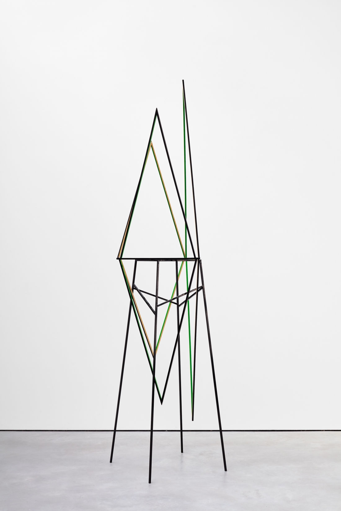 Eva Rothschild Sweet Valley, 2011, Painted oak, steel stand, 243 x 60 x 56 cm, 95 5/8 x 23 5/8 x 22 1/8 ins, Copyright the artist, courtesy Stuart Shave/Modern Art, London