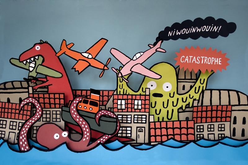 Album cover and T-shirt for Niwouinwouin's album: Catastrophe