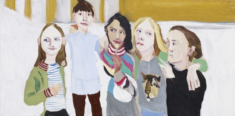 Poppy, Esme, Oleanna, Gracie and Kate, 2014 Oil on canvas 40 x 80 x 3.5 cm 15 3/4 x 31 1/2 x 1 3/8 in  © Chantal Joffe  Courtesy the artist and Victoria Miro, London / Venice