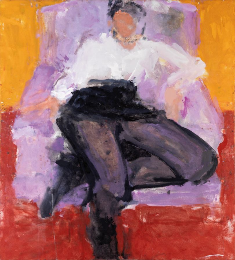 Frances in the Pink Chair, Yellow Background, 2006 42 x 38 inches. Oil on Canvas © Sargy Mann