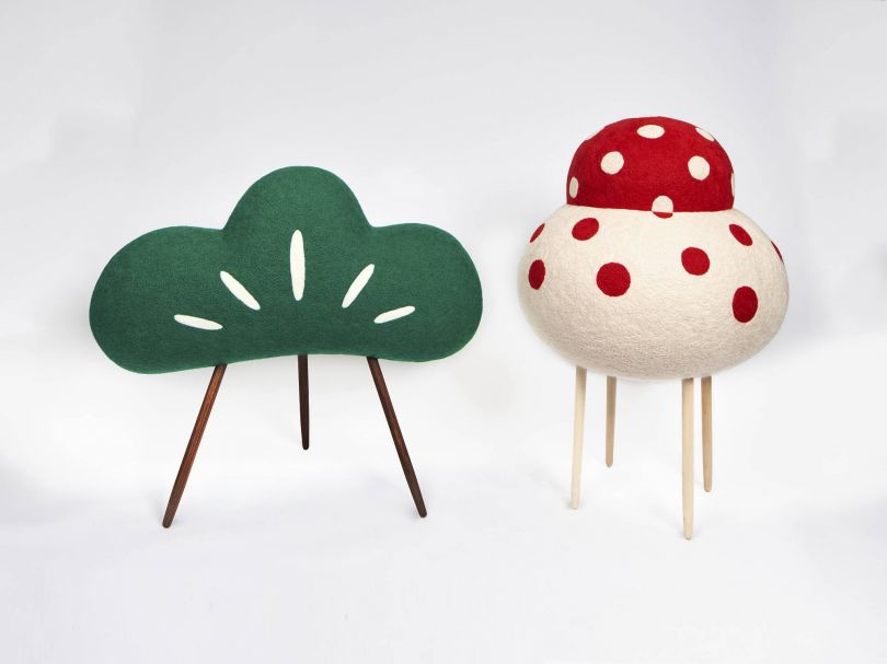 Matsuno-ki Yokai (animated pine tree), 2021 [left] Wool on EPS form, walnut wood (H) 33.5 inches x (W) 37.5 inches x (D) 18 inches  Kagami-mochi yokai (animated mirror sticky rice cakes), 2021 [right] Wool on EPS form, maple wood (H) 37 inches x (D) 25 inches  Courtesy of Artist