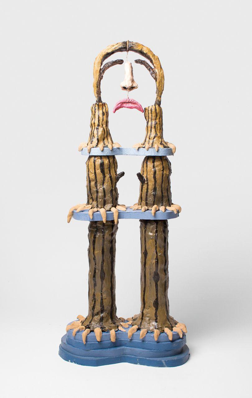 Marlene Steyn, Bad Hair Day Trinal, 2016, oil on ceramic, wood, 75 × 31 × 17 cm (29 ½ × 12 ¼ × 2 ⁵/₈ in). Picture credit: Courtesy of SMAC Gallery. Photo: Shona van der Merwe
