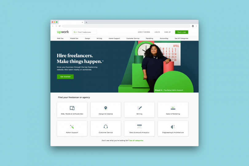Jobs board, UpWork is one we'd like to highlight
