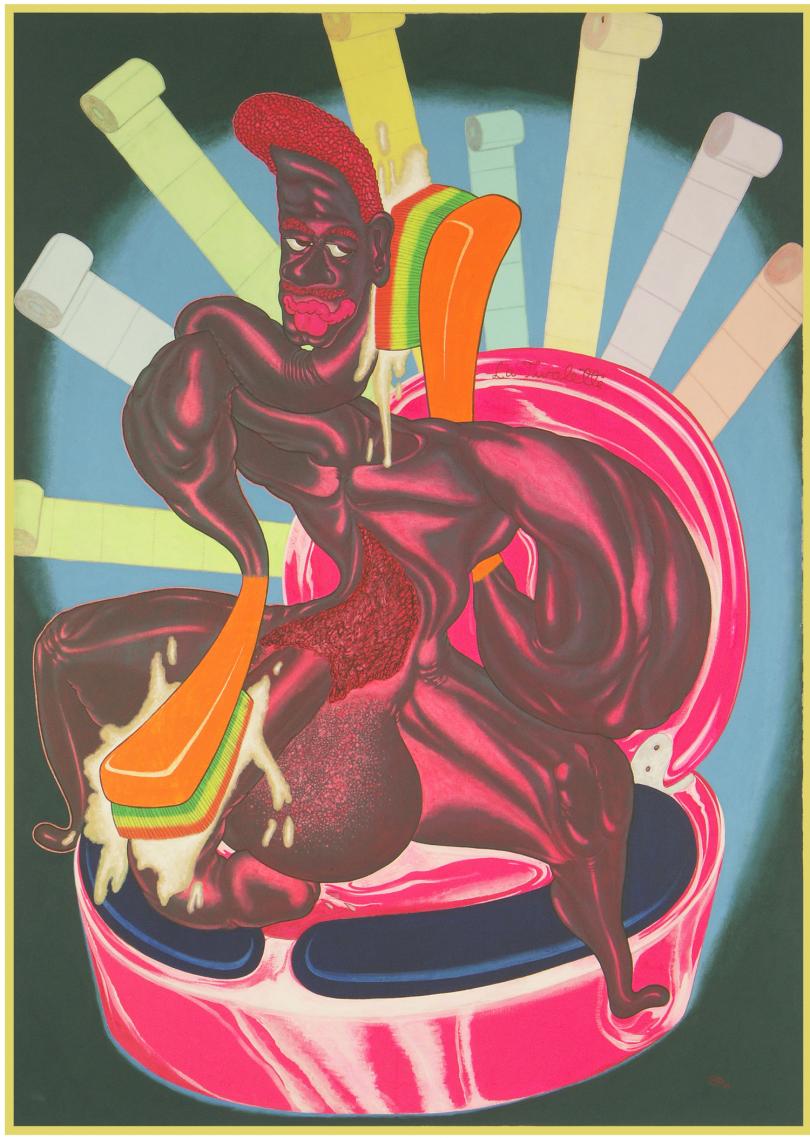 Peter Saul, La twalette, 1969, huile sur toile, 176 x 120 x 3 cm. Collection [mac] musée d'art contemporain, Marseille, ©Peter Saul; photo: Jean-Christophe Lett ; courtesy [mac]