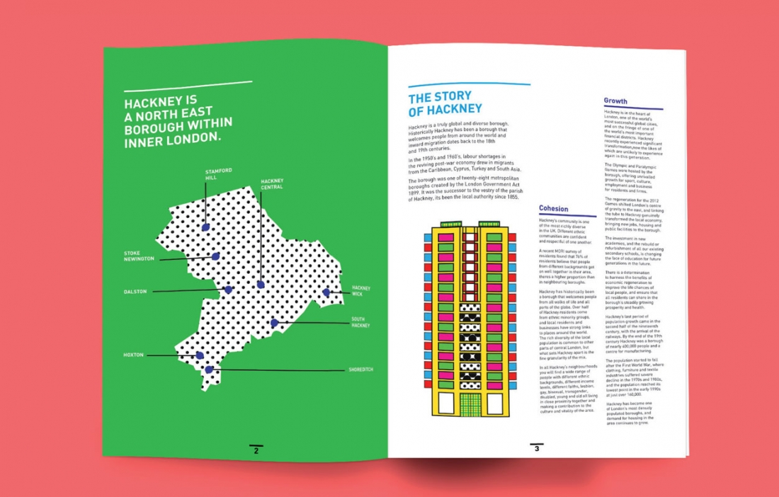 so when it came to designing a community report for the local area angus james went for a fun creative document bursting with colour and playful