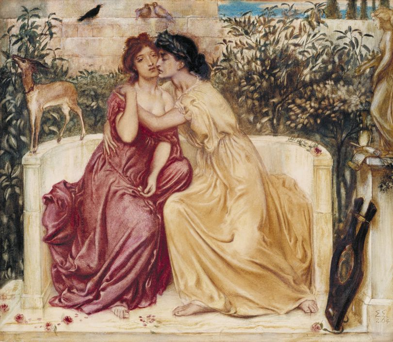 Simeon Solomon 1840-1905  Sappho and Erinna in a Garden at Mytilene   1864  Watercolour on paper   330 x 381 mm   Tate. Purchased 1980