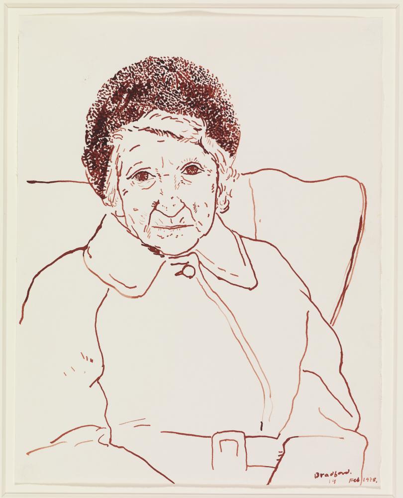 David Hockney Mother, Bradford. 19 Feb 1979, Sepia ink on paper 14 x 11