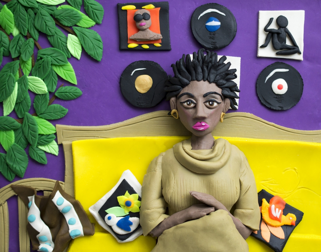 Original photograph: Afro Goddess Ex Lovers friend, 2006 by Mickalene Thomas rendered in Play-Doh © Eleanor Macnair