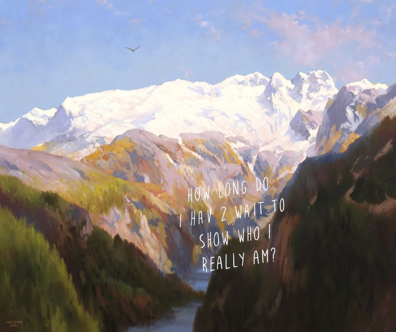 In The Mountains: How Long Do I Have To Wait To Show Who I Really Am?, 2021 © Shawn Huckins
