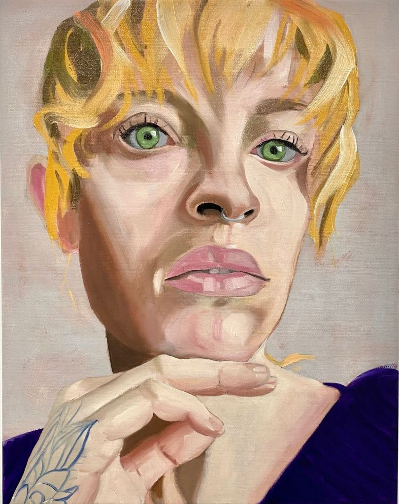 Woman with a Tatooed Hand, oil on linen, 2020 © Paul Gervais