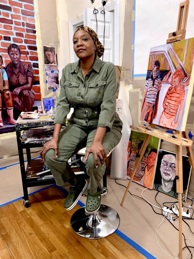 Wangari Mathenge in her studio, 2020 Courtesy of the artist and Roberts Projects, Los Angeles, CA Photo by Maina Mucoki