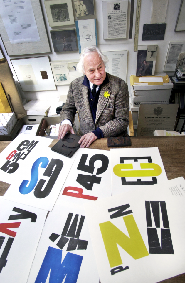 Jack Stauffacher at his Greenwood Press studio with prints from Wooden Letters from 300 Broadway, 2002. Photograph Dino Vournas