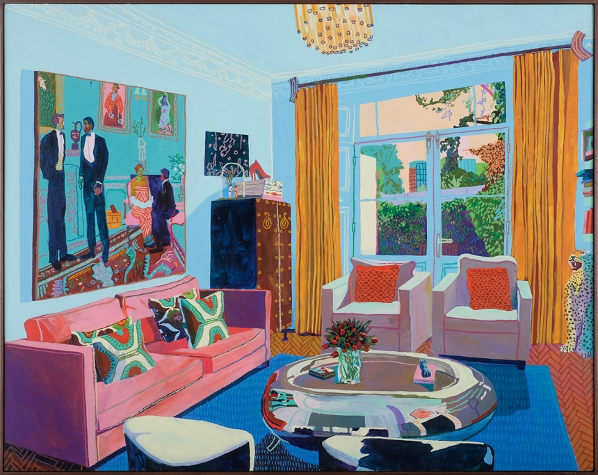 Andy Dixon, Patron's Home (London) (2017), Acrylic and Oil Pastel on Canvas, 107x135cm