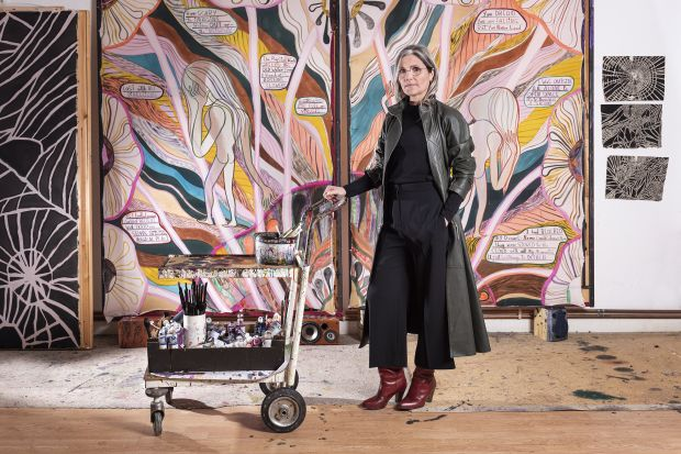 Emma Talbot Portrait in the artist's studio Pictured with When Screens Break, 2020 Photo: Thierry Bal