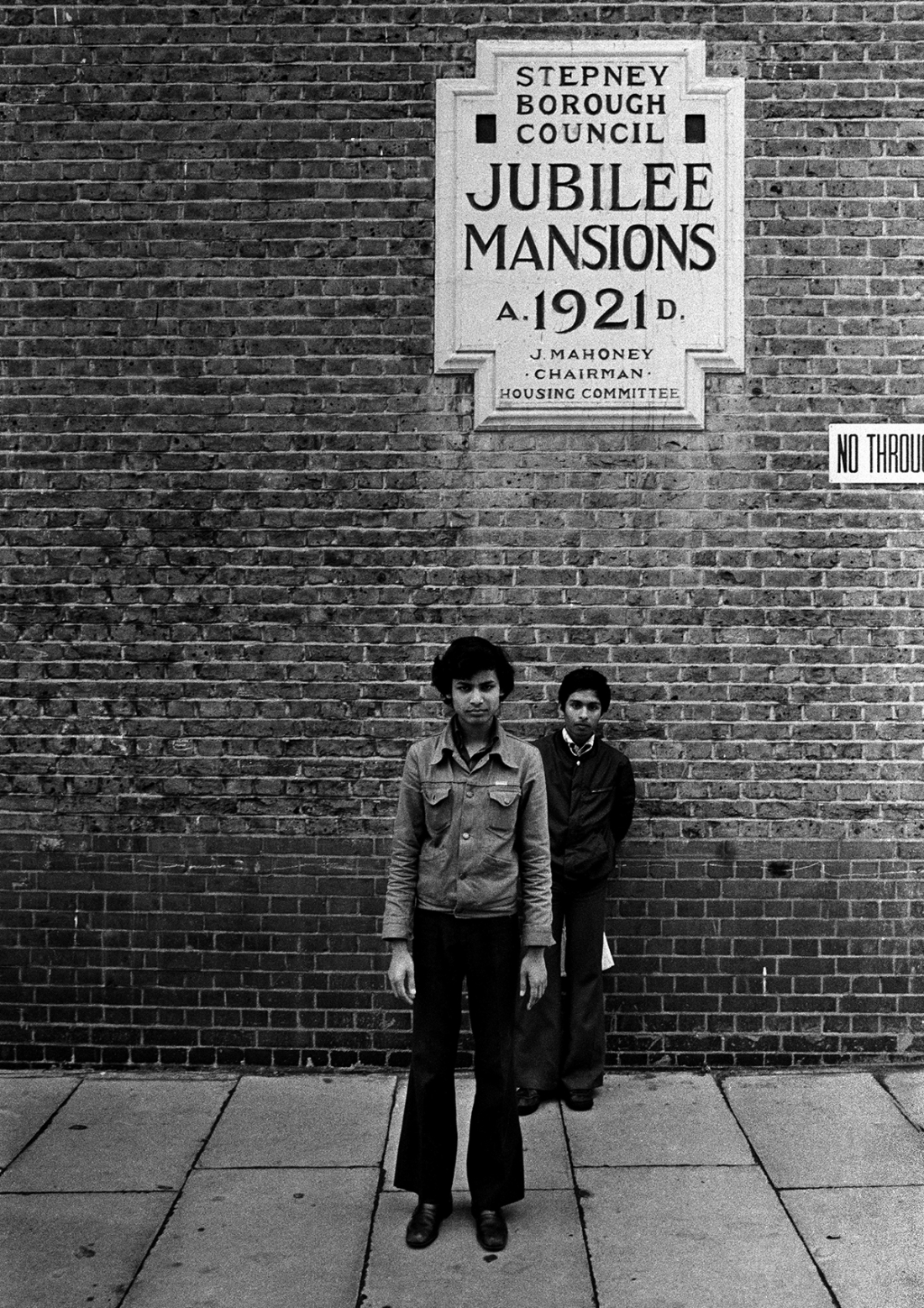 Jubilee Street, Stepney, London 1977. The photograph was taken during the celebrations of Queen Elizabeth II Silver Jubilee as a statement of reaction to Britain's multiculturalism