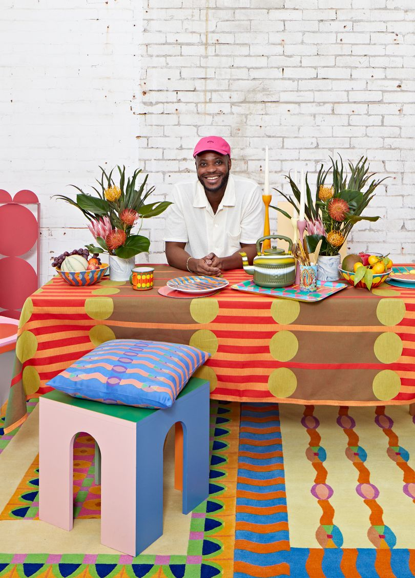 Yinka Ilori with his new homeware collection. Photography by Andy Stagg