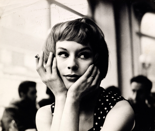 Portrait of an unknown girl in a café, 1960s
