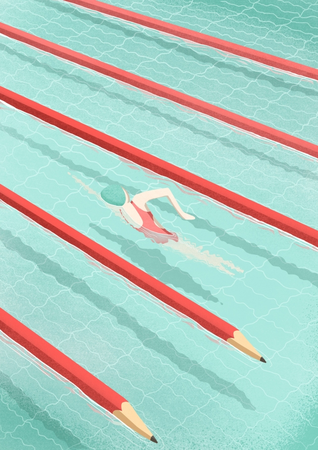 Swimming on art, illustration for Artwort Magazine