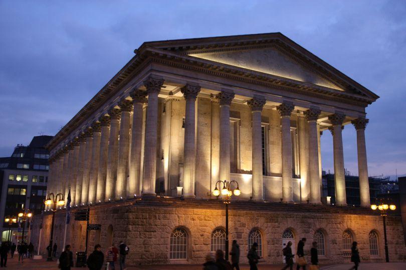Birmingham Town Hall lit up at night. Image Credit: [Shutterstock](http://www.shutterstock.com/)