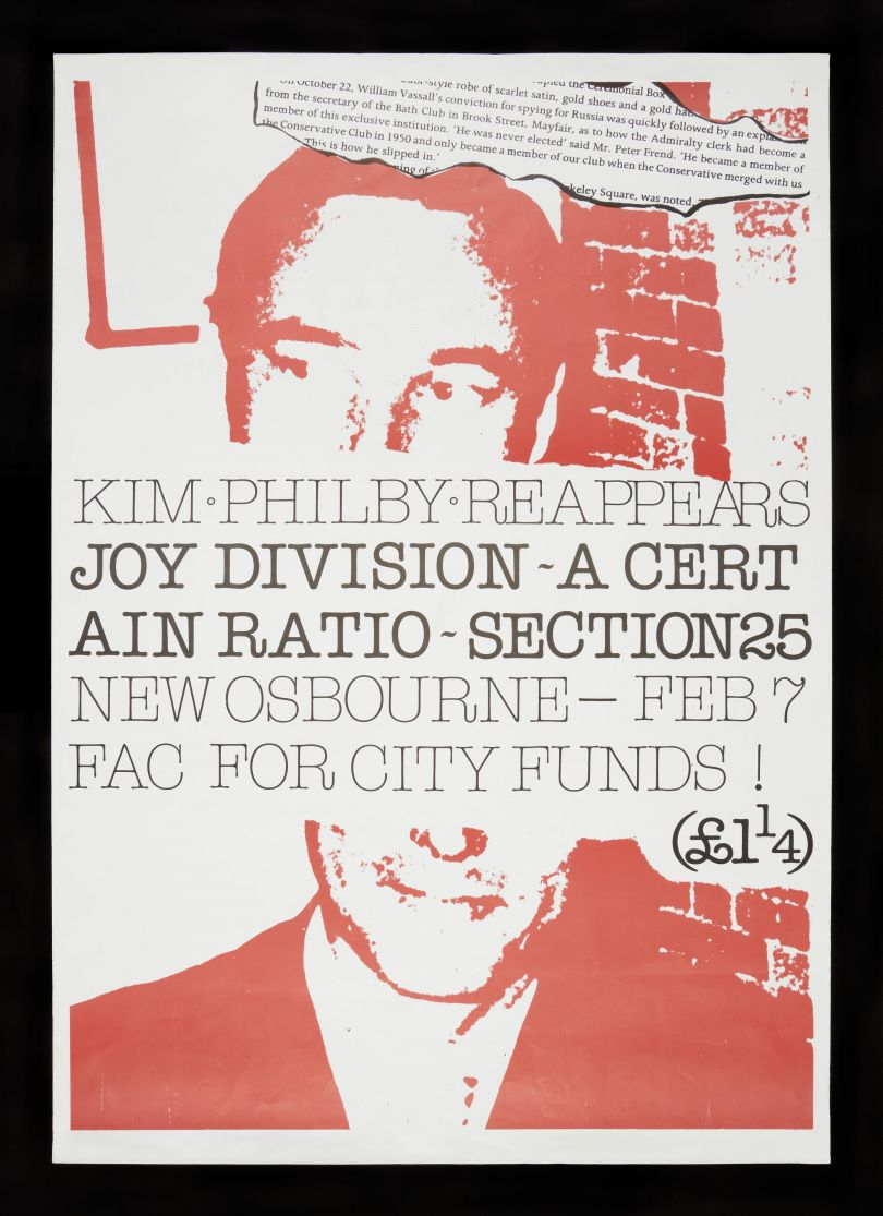 Poster designed by Jon Savage advertising Joy Division, A Certain Ratio and Section 25 for show at New Osbourne Club - Fac for City Funds © The Board of Trustees of the Science Museum