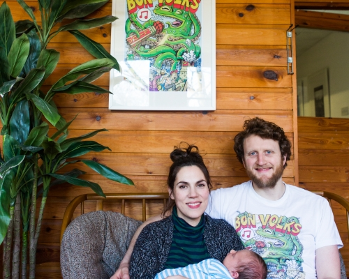 Ross Walker and Rachel Boot are co-founders and Directors of Bon Volks. Rachel is a voice-over artist and Ross is a visual artist and carpenter. Ottilie Walker is 3 months old and has yet to be given an official role in the organisation.