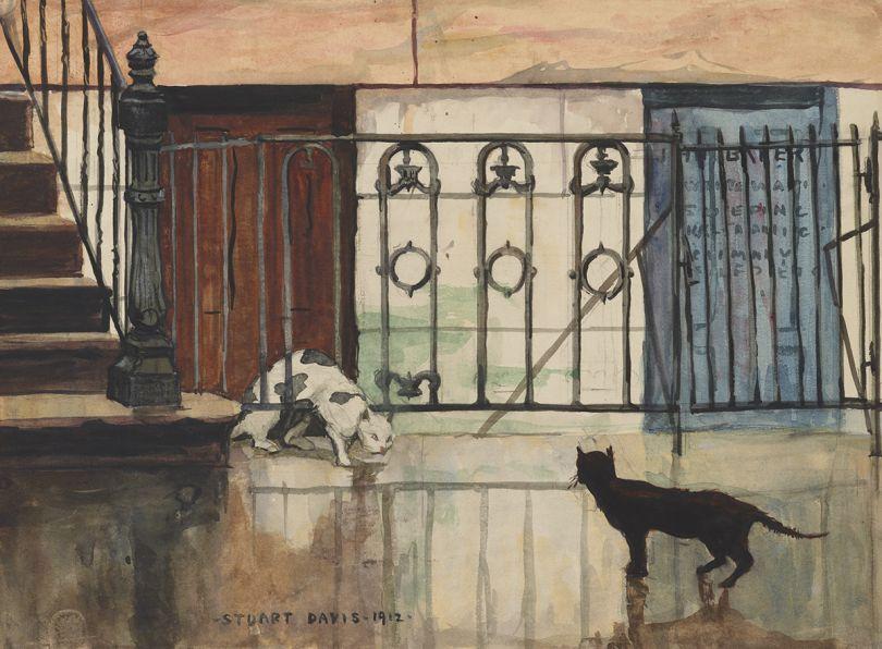 Two Cats, 1912. Stuart Davis, American, 1892 1964. Watercolor over graphite on wove paper, Sheet: 10 3/4 x 14 3/4 inches. Philadelphia Museum of Art, Gift of Carl Zigrosser, 1953, 1953-64-2, © Estate of Stuart Davis. Licensed by VAGA, New York
