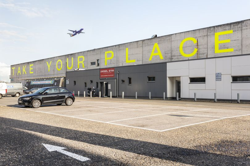 Take Your Place, 2019, Jessie Brennan (Part of the year-long series Making Space) Commissioned by the Royal Docks Team, a joint initiative by the Mayor of London and the Mayor of Newham. Produced and curated by UP Projects.  Photo by Thierry Bal