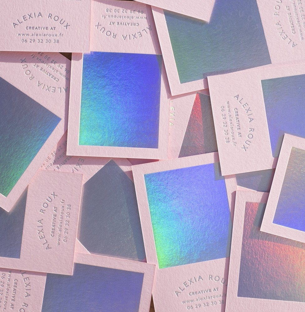 16 of the sweetest business card designs from some of the worlds pink and holographic personal business cards by alexia roux colourmoves